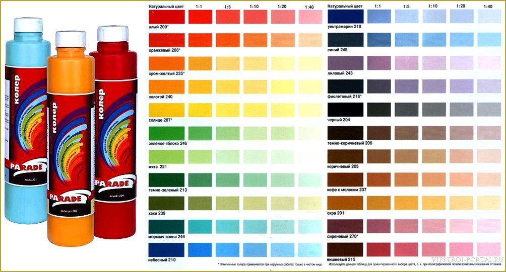 каталог для выбора цвета