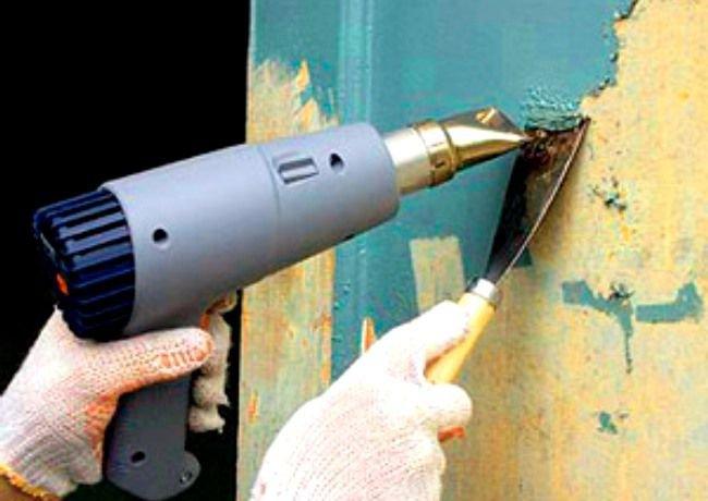 нагревание старой краски строительным феном