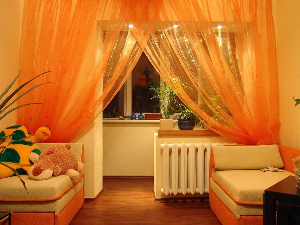 Bright sheer curtains