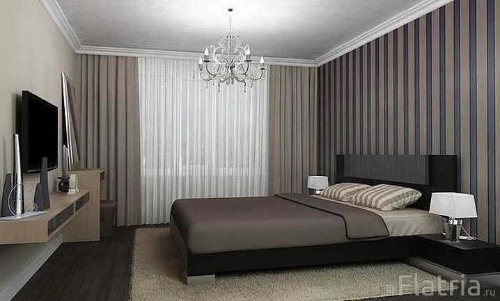 полосатые обои в спальню