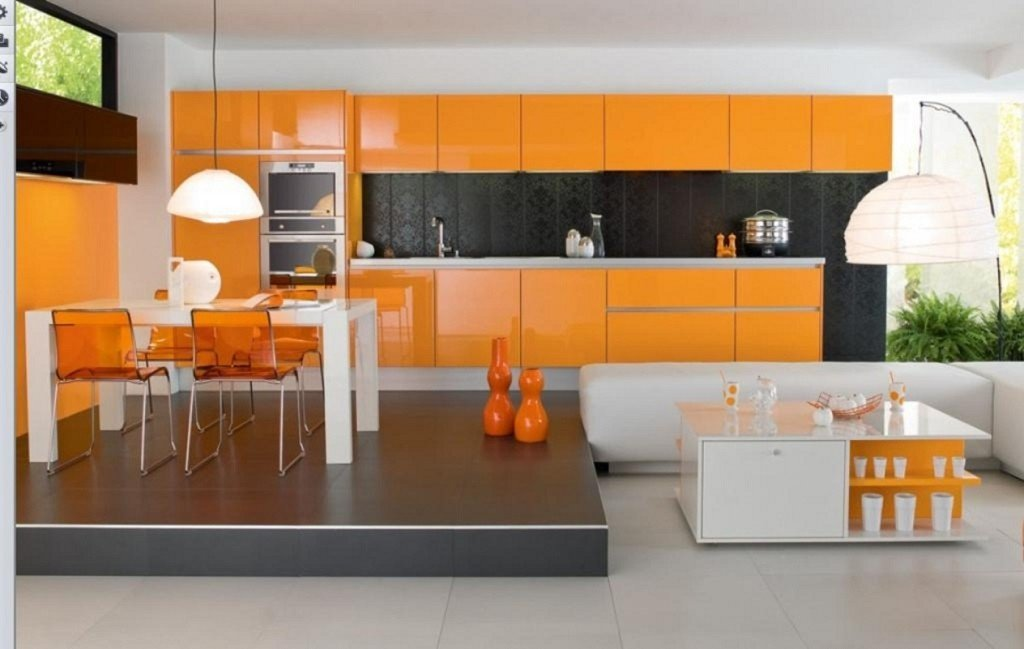 плитка контрастных цветов на кухне