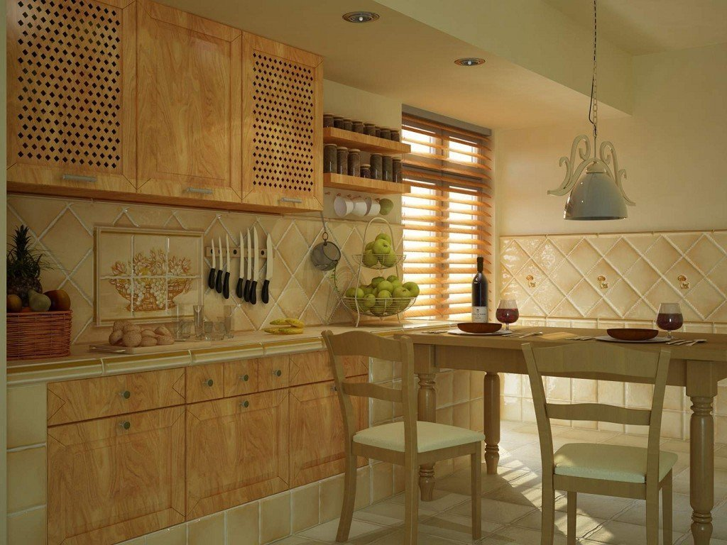 кафель на кухне под цвет мебели