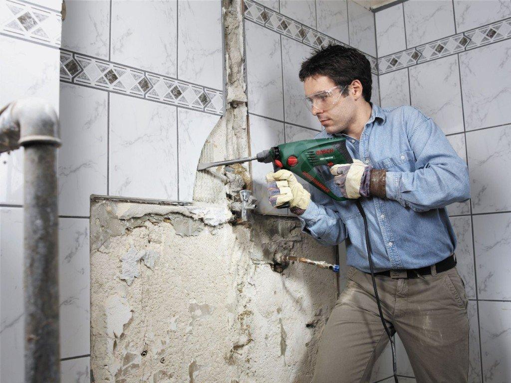 зачистка стен в санузле