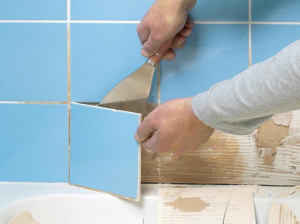 удаление кафеля со стены в ванной