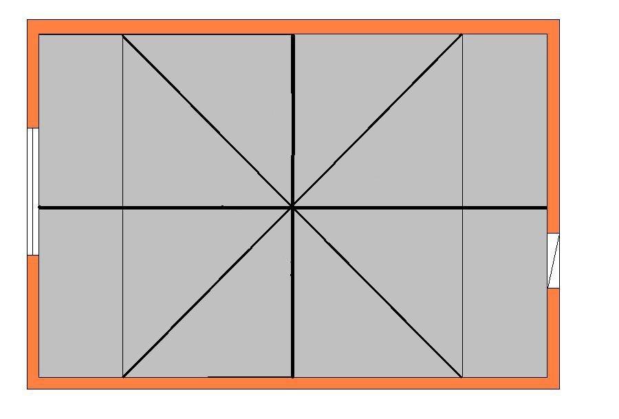 разметка потолка для диагональной укладки плитки
