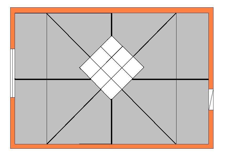 раскладка плитки на потолке диагональная
