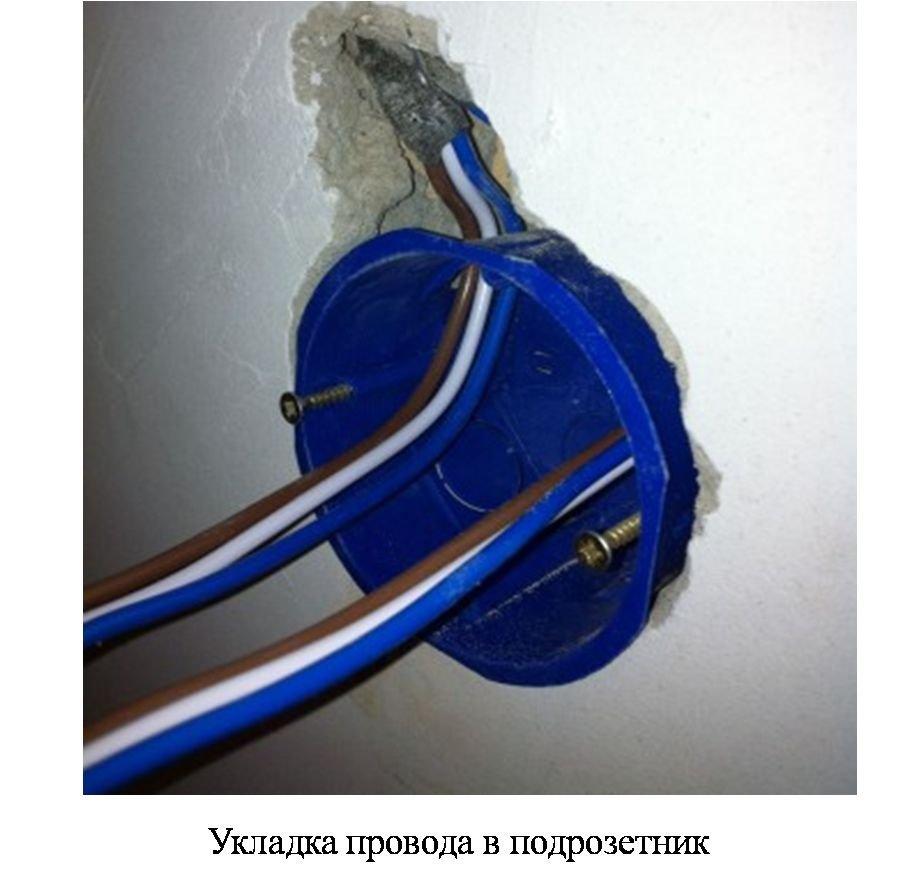 укладка проводов в подрозетник