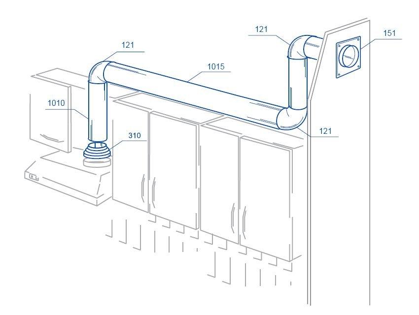 Схемы монтажа кухонных вытяжек