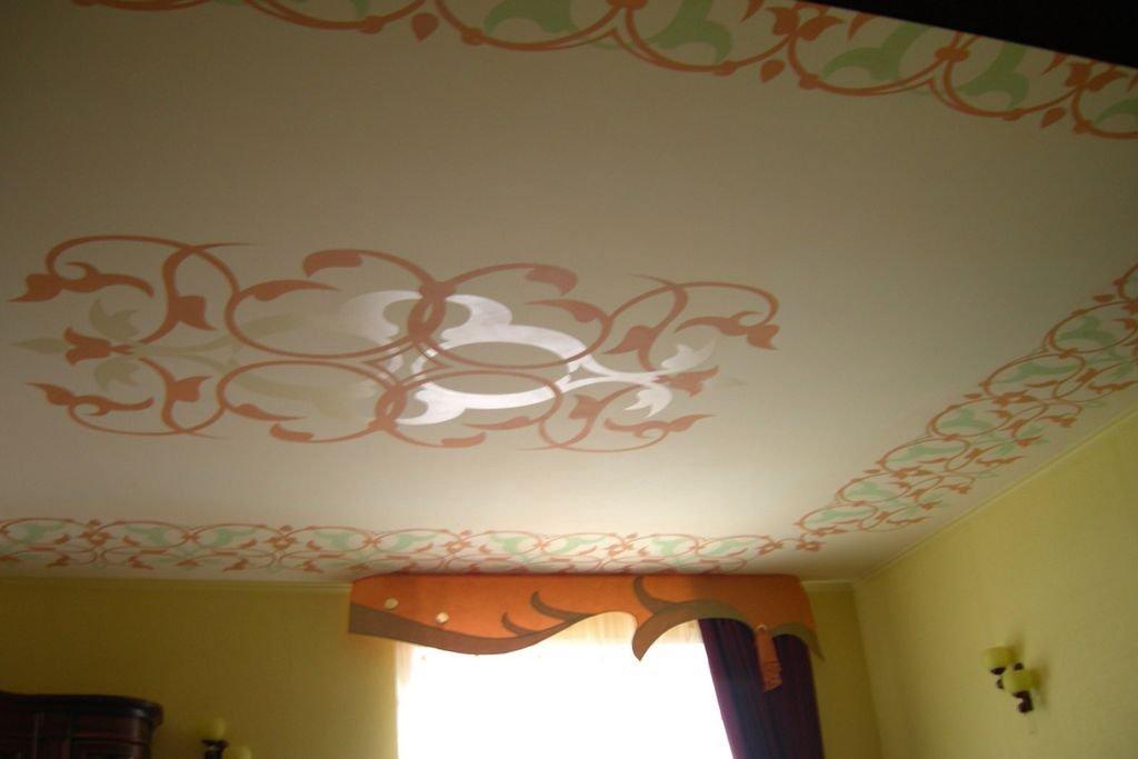 Потолок с рисунком из двп своими руками