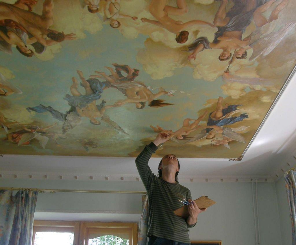 роспись на тканевом потолке