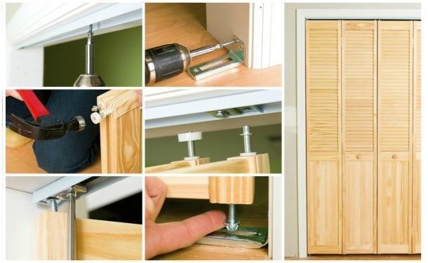 Поэтапный монтаж двери-гармошки