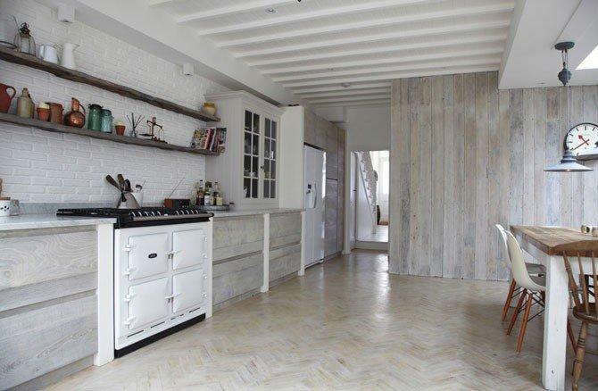 Вагонка в интерьере кухни в скандинавском стиле