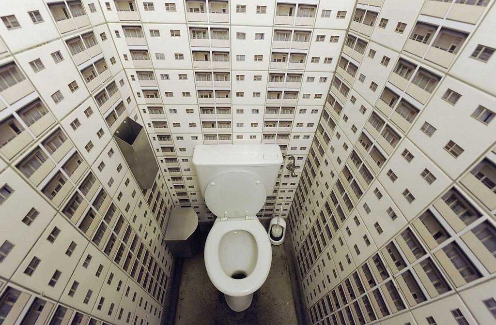 Иллюзия пространства в маленьком туалете