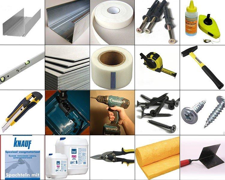 Материалы и инструменты для монтажа гипсокартона