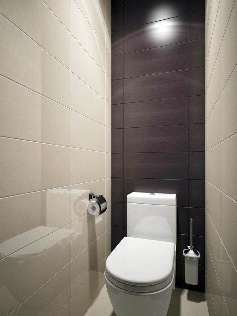 Керамическая плитка в дизайне маленького туалета
