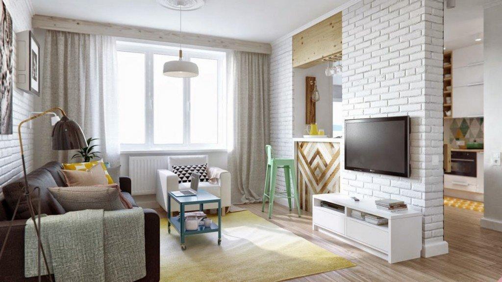 Кирпичная стена отделяет зону отдыха от кухни