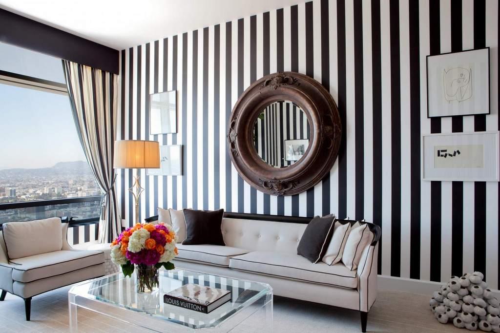 Дизайн стен полоски фото