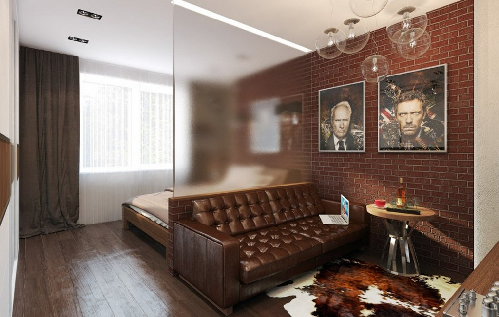 Отделение спальной зоны от гостиной с помощью стационарной полупрозрачной перегородки