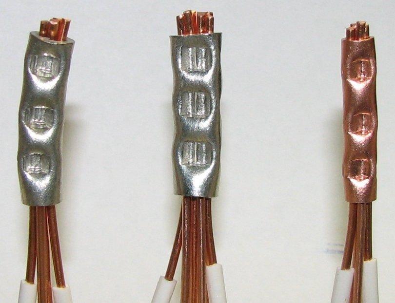 провода, опрессованные металлическими гильзами