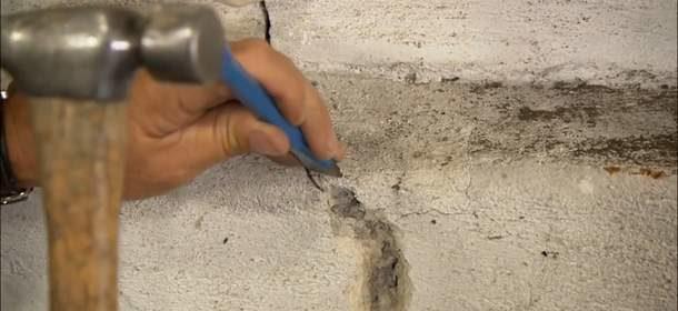 Расширение трещин перед заделыванием