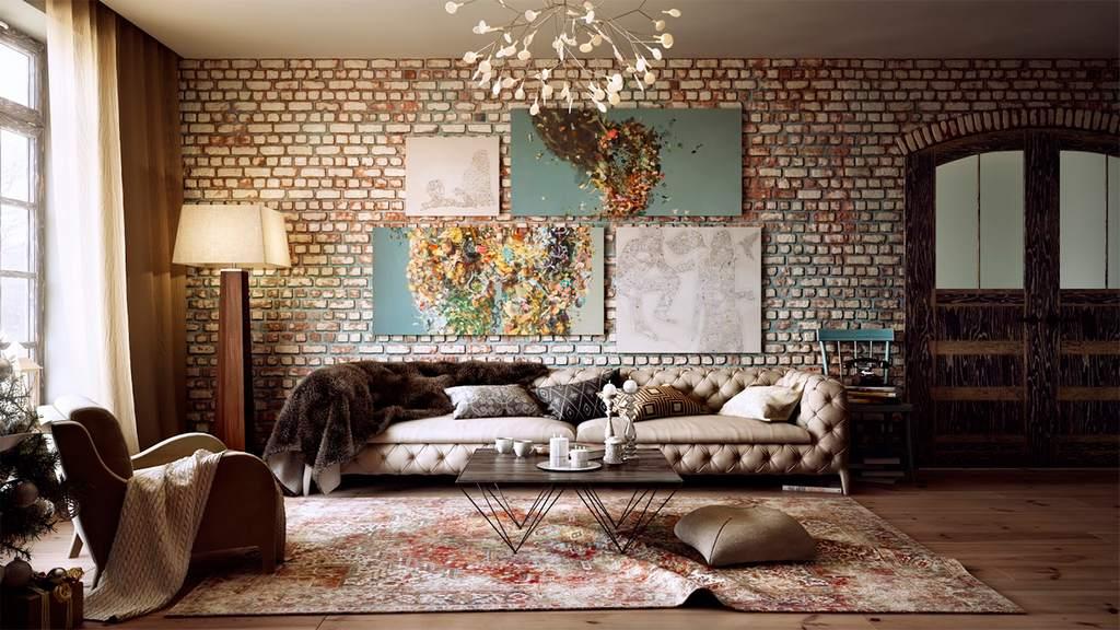 Гостиная в стиле лофт, украшенная модульной картиной