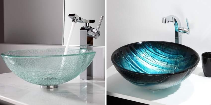 Стеклянные умывальники для ванных комнат