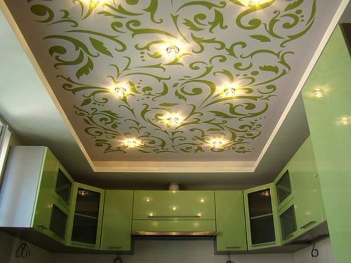 Тканевый потолок с принтом