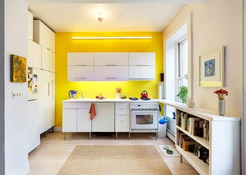 Водоэмульсионная краска в рабочей зоне кухни