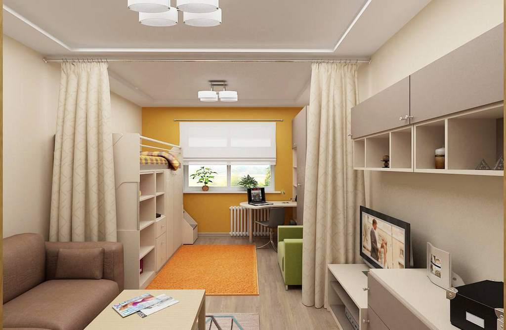 Зонирование детской и гостиной