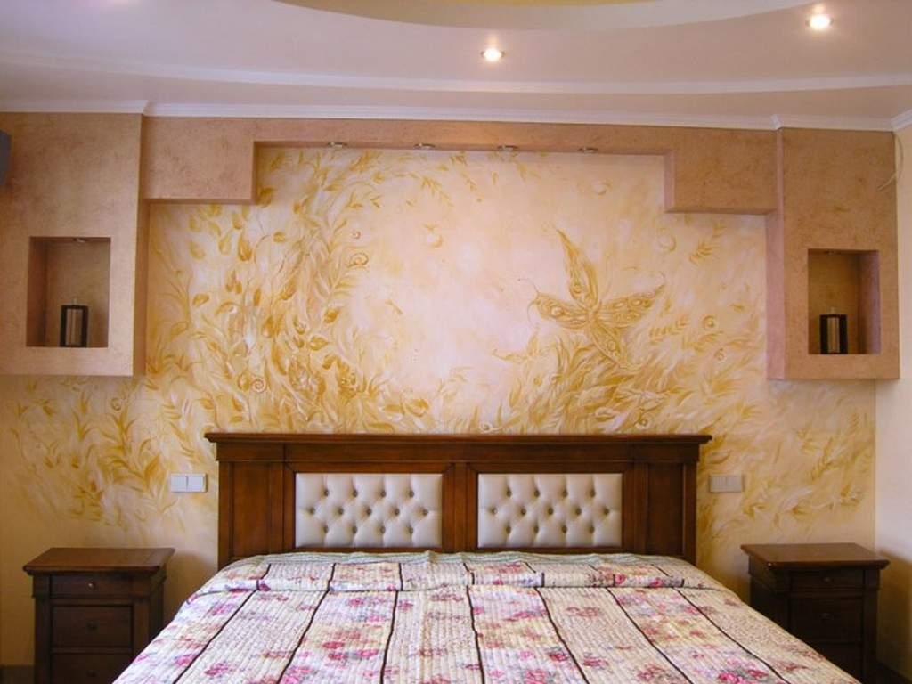 Отделка стен в спальне - фото: варианты отделки стен