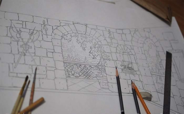 Эскиз изображения для настенной росписи