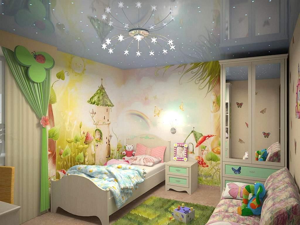 Глянцевый потолок для комнаты маленькой принцессы