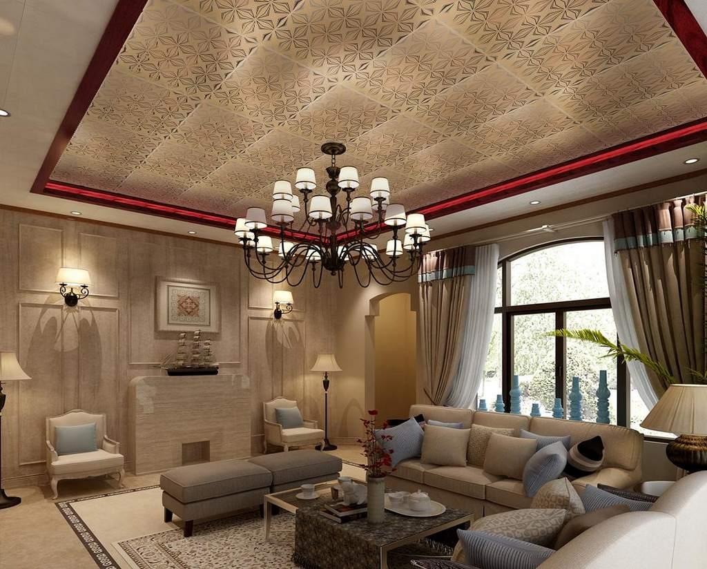 Кассетные потолки в гостиной