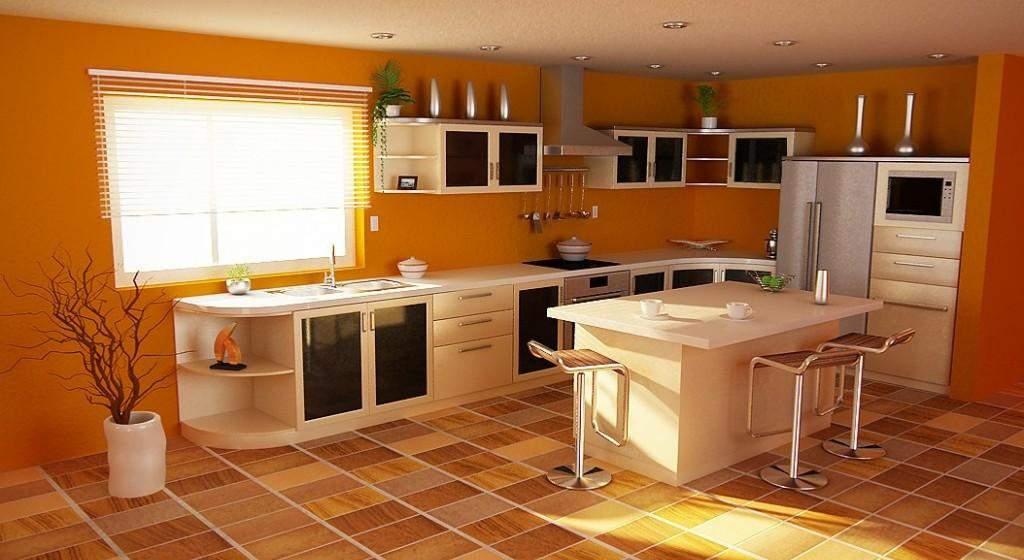 Жизнерадостная оранжевая кухня