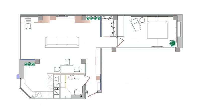 План квартиры-студии с изолированной спальней