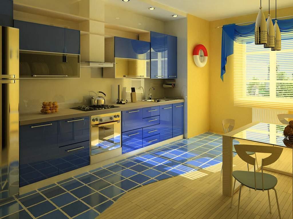 Сочетание синей кухонной мебели и желтого цвета стен