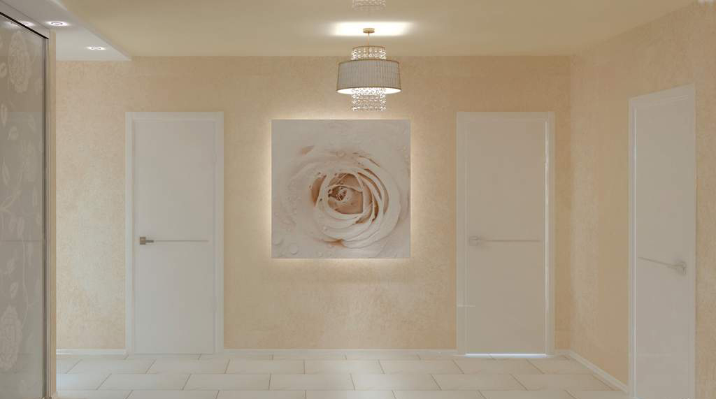 Светлая отделка коридора