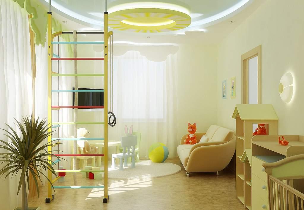 Дизайн потолков детской комнаты