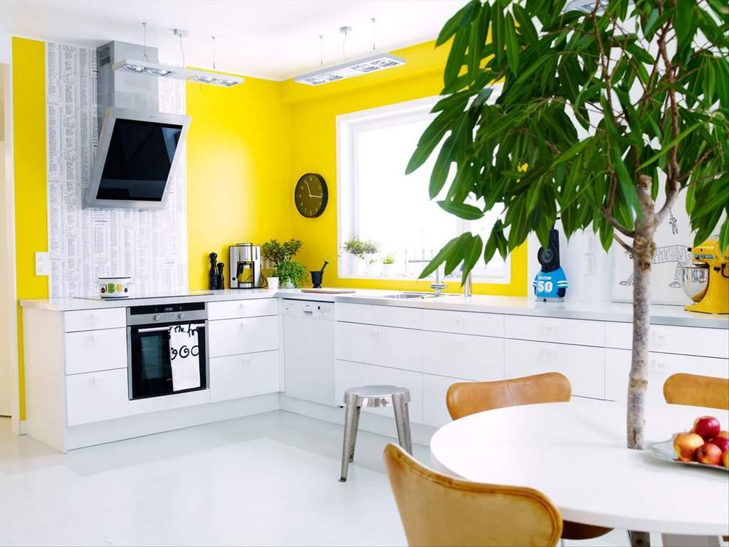 Ярко-желтые стены в кухне