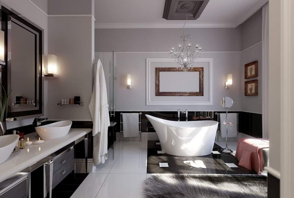 Освещение большой ванной комнаты