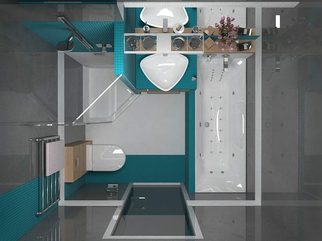 Совмещенный санузел с ванной и душевой кабиной