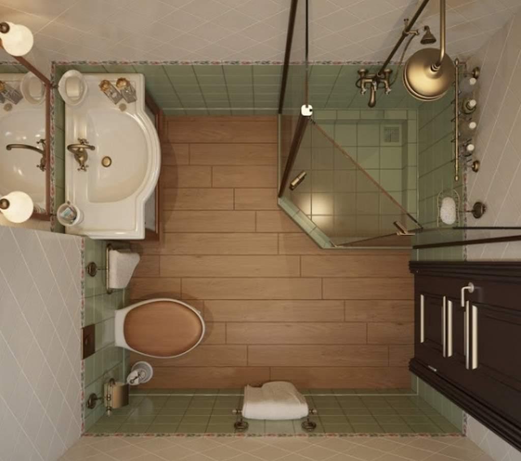 Планировка квадратной ванной комнаты с кабиной