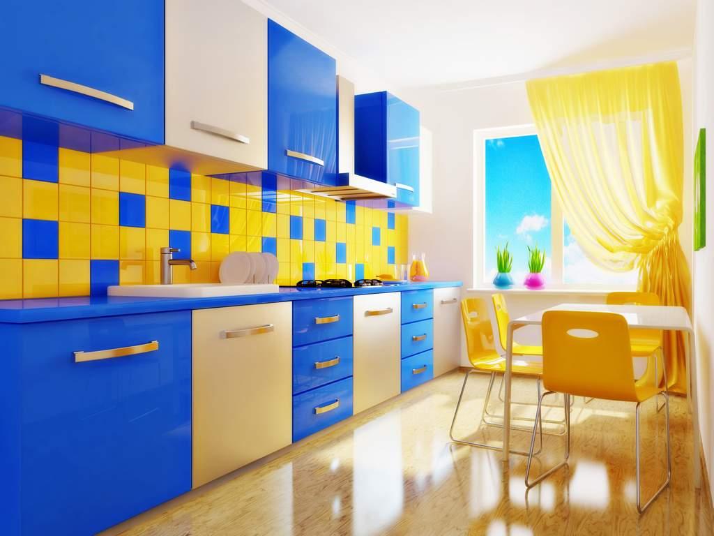 Полярная цветовая гамма: желто-синий интерьер