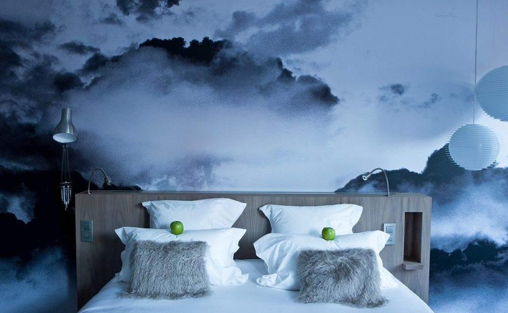 3D-изображение на стене спальни