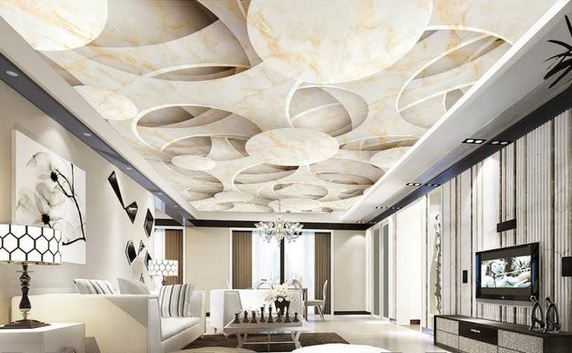 3D-потолок в гостиной