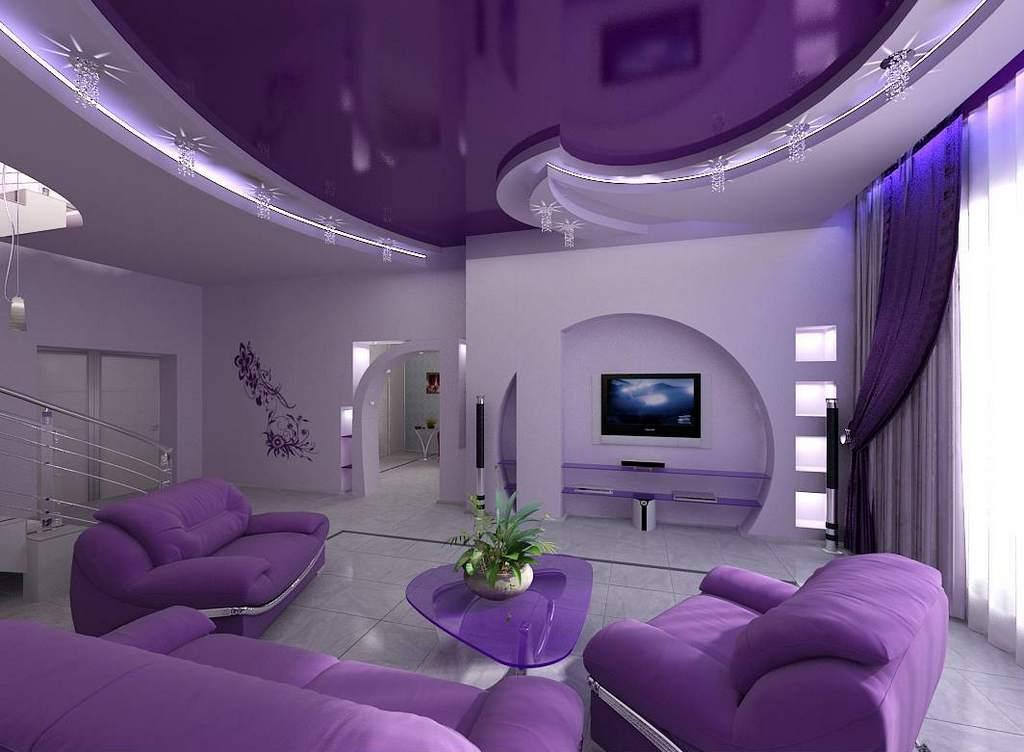 Потолок в гостиной - важный элемент интерьера