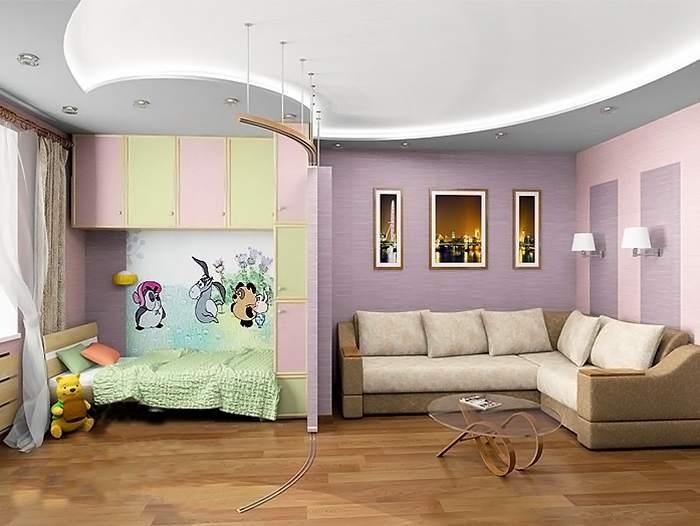 Детская и врослая зоны, оформленные в разных стилях