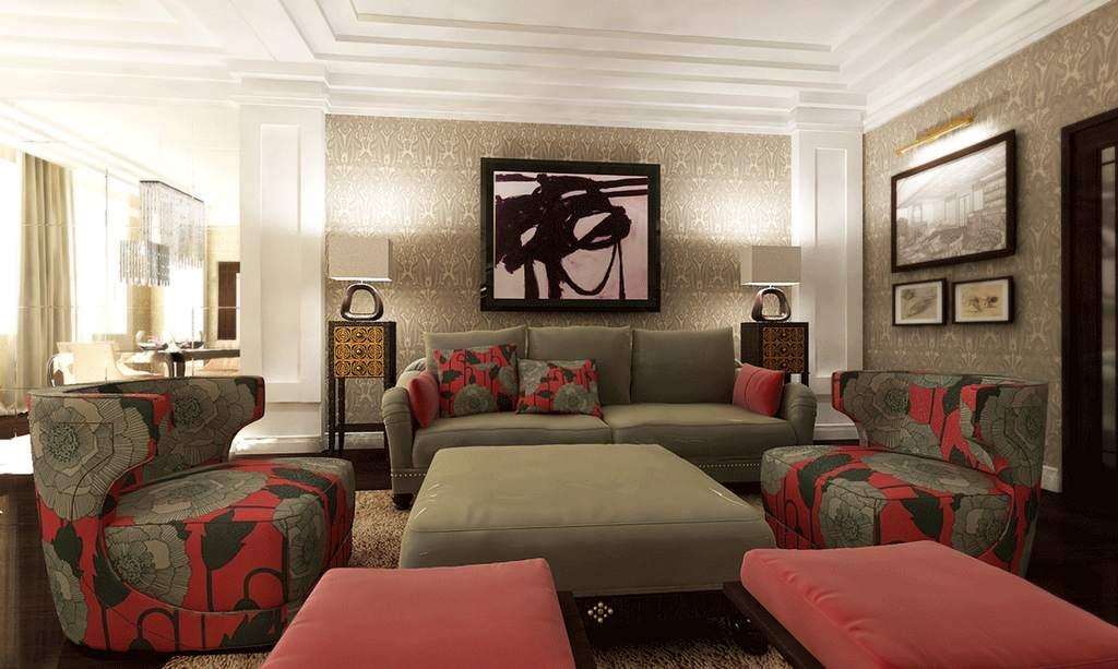 Многоступенчатый потолок в гостиной ар-деко