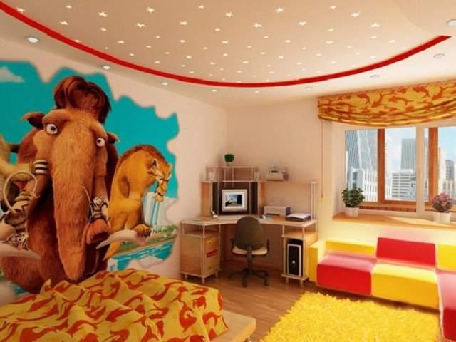 Мультяшные фотообои в спальне ребенка
