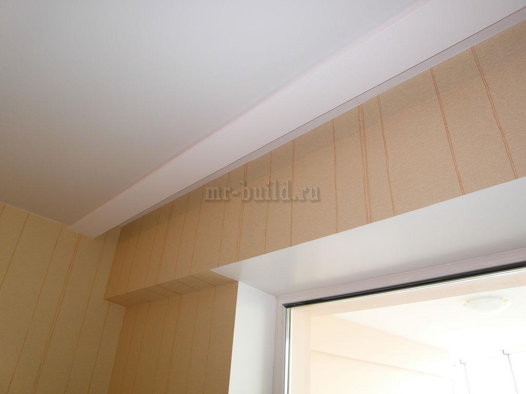 Соединение натяжного потолка с конструкцией из ГКЛ